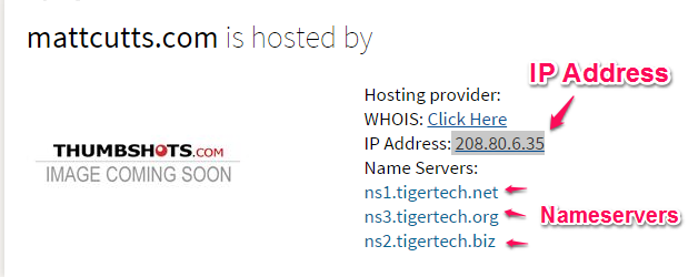check who is hosting a website