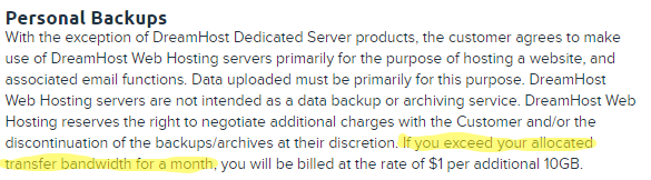 dreamhost policies