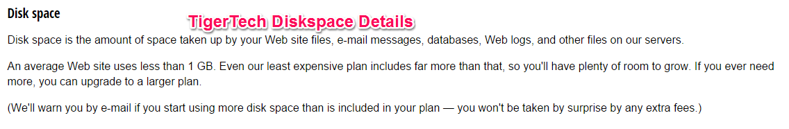 tigertech diskspace details